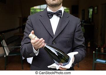 cameriere, servire, champagne