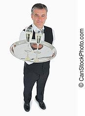 cameriere, servire, vetri champagne