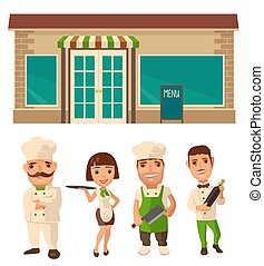 cameriere, set, cameriera, carattere, chef, cook., icona