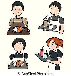 cameriere, set, cameriera, vettore