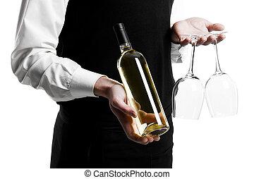 cameriere, sommelier, stemware, bottiglia, vino