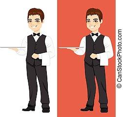 cameriere, standing, vassoio, vuoto
