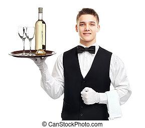cameriere, vassoio, giovane, bottiglia, vino