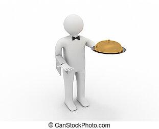 cameriere, vassoio, mano