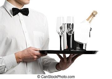 cameriere, vassoio, secchio, mani, champagne, stemware