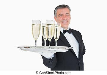 cameriere, vassoio serving, pieno, di, occhiali, con, champagne