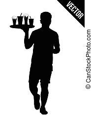 cameriere, vassoio, silhouette