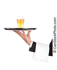 cameriere, vetro, birra, vassoio