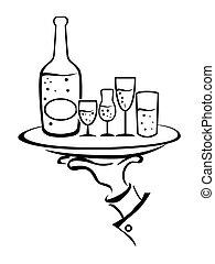 cameriere, vino, prese, vassoio, mano
