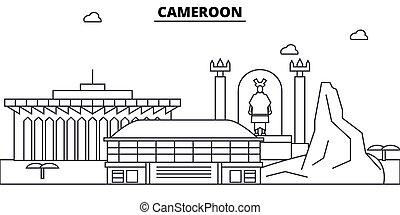 Cameroon architecture skyline: buildings, silhouette, outline landscape, landmarks. Editable strokes. Flat design line banner, vector illustration concept.