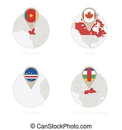 Cameroon, Canada, Cape Verde, Central African Republic map and flag in circle.
