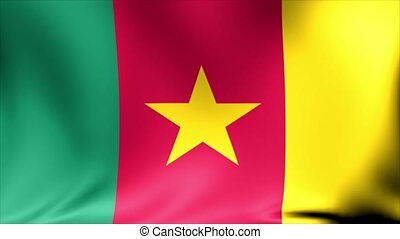 Cameroon Flag. Background Seamless Looping Animation. 4K High Definition Video.