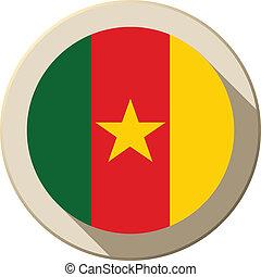 Cameroon Flag Button Icon Modern