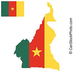 Cameroon Flag - Flag of the Republic of Cameroon overlaid on...