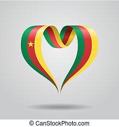 Cameroon flag heart-shaped ribbon. Vector illustration. -...