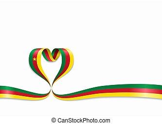 Cameroon flag heart-shaped ribbon. Vector illustration. -...