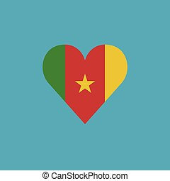 Cameroon flag icon in a heart shape in flat design