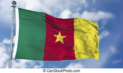 Cameroon Flag in a Blue Sky. Use this clip loud and proud to...