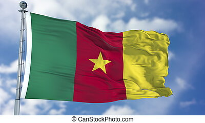 Cameroon Flag in a Blue Sky