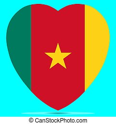 Cameroon Flag In Heart Shape Vector illustration Eps 10