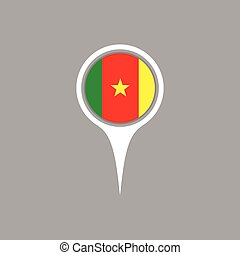 Cameroon flag location map icon ,  Vector illustration.