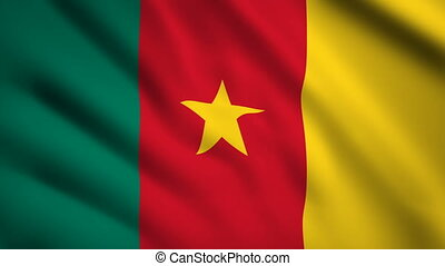 Cameroon flag Motion video waving in wind. Flag Closeup...