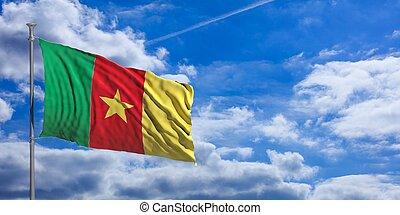 Cameroon flag on a blue sky background. 3d illustration
