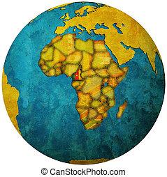 cameroon flag on globe map