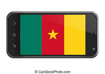 Cameroon flag on smartphone screen isolated