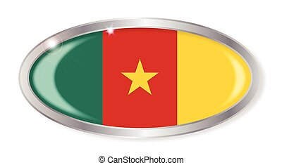 Cameroon Flag Oval Button