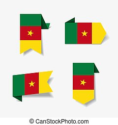 Cameroon flag stickers and labels. Vector illustration. -...