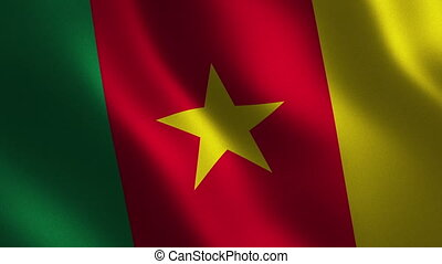 Cameroon flag waving 3d. Abstract background. Loop...