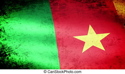 Cameroon Flag Waving, grunge