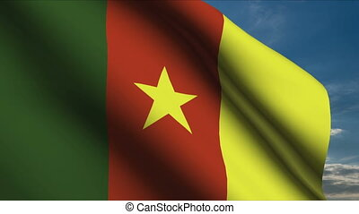 Cameroon Flag waving in wind with clouds in background