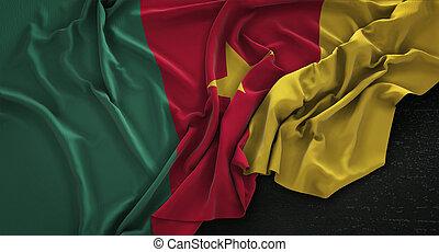 Cameroon Flag Wrinkled On Dark Background 3D Render