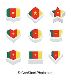 cameroon flags icons and button set nine styles