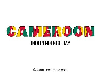 Cameroon independence day paper cut style greeting card concept layered letters on white background.