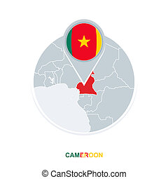 Cameroon map and flag, vector map icon with highlighted Cameroon