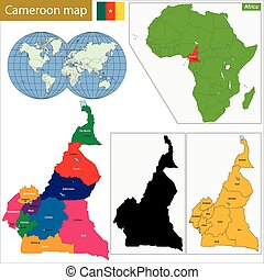 Cameroon map with high detail and accuracy and it is divided...