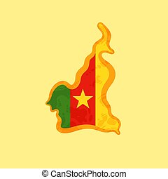Cameroon - Map colored with Cameroonian flag