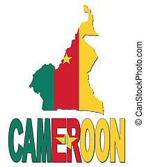 Cameroon map flag and text