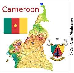 Cameroon map flag coat