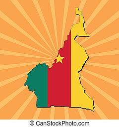 Cameroon map flag on sunburst