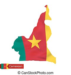 Cameroon map with waving flag of country.