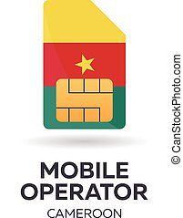 Cameroon mobile operator. SIM card with flag. Vector illustration.