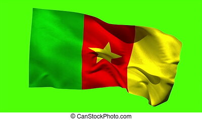 Cameroon national flag blowing in the wind