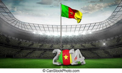 Cameroon national flag waving in fo