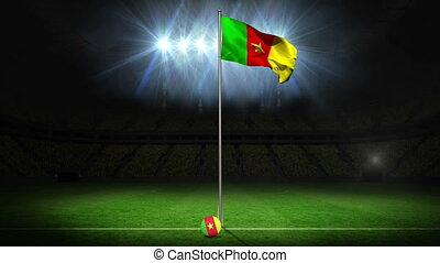 Cameroon national flag waving on flagpole on football pitch...