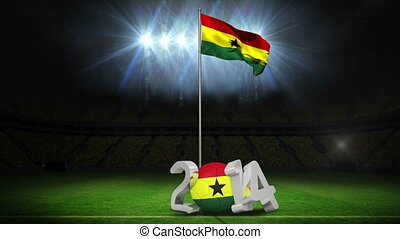 Cameroon national flag waving on football pitch on black...
