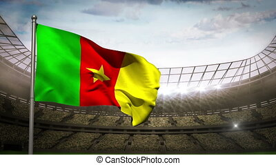 Cameroon national flag waving on st - Cameroon national flag...